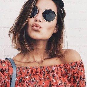 Black & Gold Retro Round Sunglasses